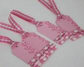Pink Polka Dot Flower Gift Tags Set of 4