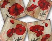 Red Poppy Handmade Glass Coaster Set from Upcycled Dictionary page book art - WilD WorDz - Poppy Talk