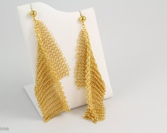 24kt Yellow Gold Plated Sterling Silver Vintage Recycled Chainmaille Mesh Post Earrings, AC0956-GP, by Ashley Childs,