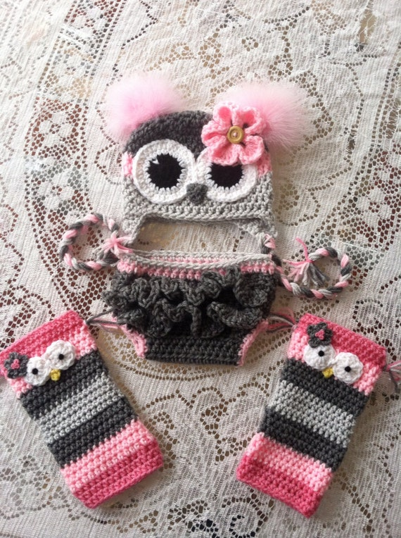 Free Crochet Owl Hat And Diaper Cover Pattern : Newborn owl hat diaper cover by MarysMoxee on Etsy