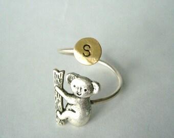 koala  initials ring, adjustable ring, animal ring, silver ring, statement ring