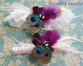 LILA in White -- Peacock and Plum Bridal Keepsake and Toss Garter Set Perfect for Your Wedding Day -- Customization in Your Colors Available