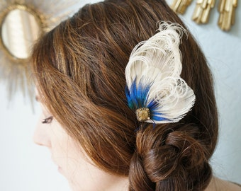 Champagne Ivory Peacock Feather Hair Clip Something Blue Plumage Herl Rhinestones FANCY TIA Brides Bridesmaids Flower Girl Headpiece