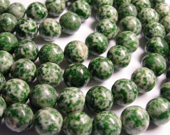 Green spot Jasper - 12 mm - round bead - 33 beads - full strand -