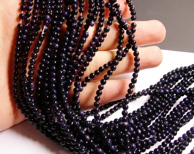 Blue goldstone - 4mm round beads - full strand -98 beads - RFG508