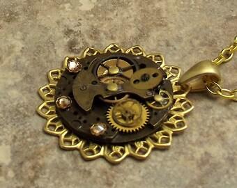 Steampunk Necklace, Lace Edge, Round Watch Plate, Dark Brown, Gold
