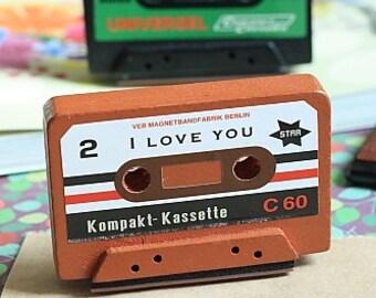 Stamp-Rubber Stamp-Vintage Cassette Tape Stamp-I LOVE YOU