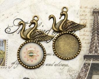 5 pcs Antique brass swan round Cabochon Pendant Base (Fit Cabochon 18mm), Swan Pendant findings