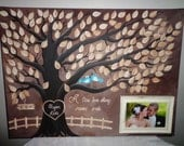 Wedding guestbook thumbprint tree Canvas with picture frame.....100 guests......16 x 20 canvas...Just Gorgeous