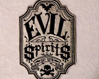 """Evil Spirits Apothecary Iron on Patch on Cowhide Leather 2.75"""" x 4"""""""