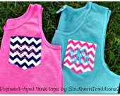 Monogrammed Personalized Chevron Pocket Tee Comfort Colors Tank Tops Choose your color t shirt
