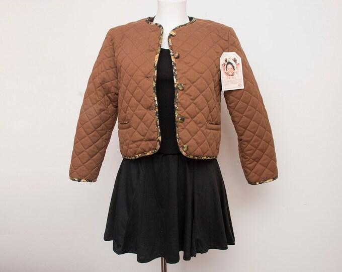 90s NOS vintage quilted Crop jacket brown