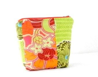 Amy Butler, Orange and Green, Cosmetic Bag, Make Up Bag, Handmade Accessory, Soul Blossom, Disco Flower, Retro Handmade Bag
