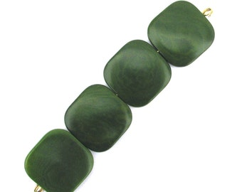 Four Forest Green Tagua Nut Beads, Flat Square Beads, 21mm Beads, Natural Beads, Organic Beads, Vegetable Ivory Beads, EcoBeads
