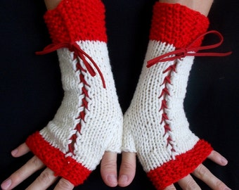 Fingerless Gloves Corset Wrist Warmers in Light Cream and Red Victorian Style