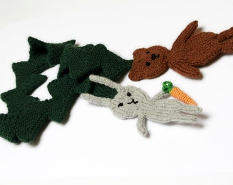 Woodland Scarf, knit bear and rabbit in spruce forest, animal scarf
