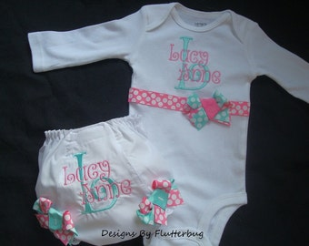PERSONALIZED CUSTOM Onesie and Bloomers - Personalized Diaper Cover - New Baby Set - Initial and Name in Aqua and Pink