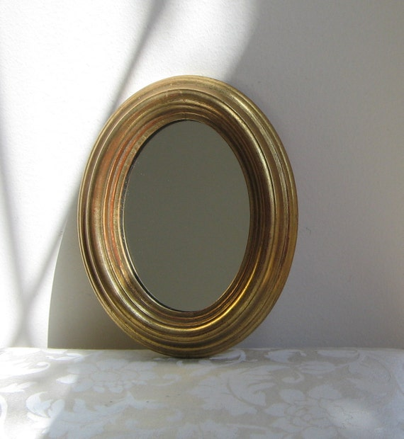 Vintage Gold Gilt Wall Mirror Oval Wood Plaster Gesso