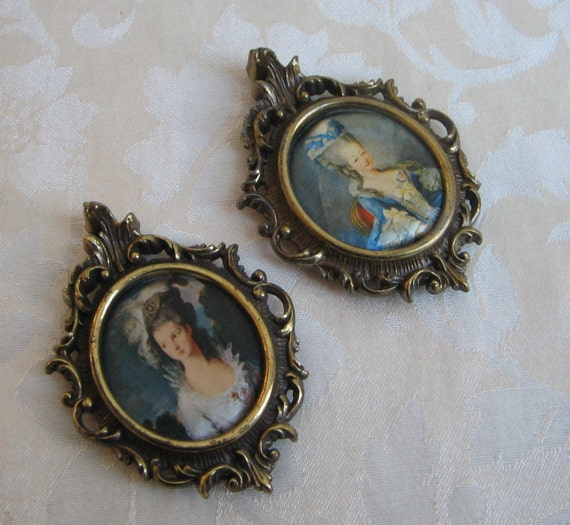 Vintage Italian Ornate Gold Metal Picture Frame Woman Portrait