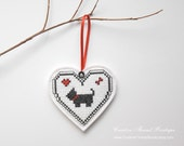 Embroidery Heart Ornament or Pin Back Brooch Jewelry - Lapel Pin - Black White Red - Black Dog - Scottie Dog - Scotty Dog - creativethreadboutiq