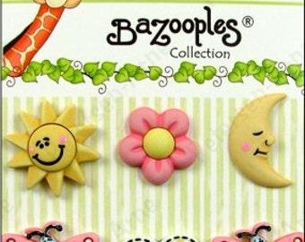 BaZooples Button Set Sunny Day Butterflies Heart Moon Sun Novelty Buttons