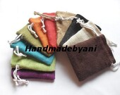 """50 Burlap bags 3"""" X 4"""" in Mix of 10 colors for candles handmade soap wedding"""