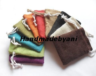 "50 Burlap bags 4"" X 6"" in Mix of 10 colors for candles handmade soap wedding"
