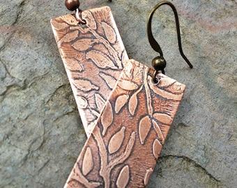 Copper earrings, nature jewelry, leaf earrings, geometric earrings, nature inspired jewelry, minimalist jewelry, lightweight earrings