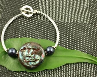 Blue  Moon Face Raku Bracelet