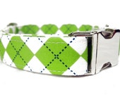 Argyle Dog Collar with Nickel Plate Hardware - Lime Argyle