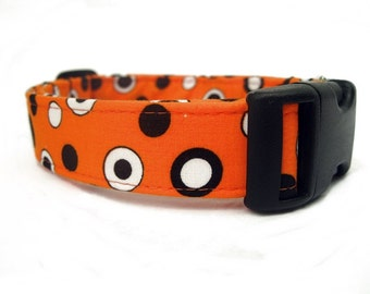 Halloween Dog Collar Spooky Spots in Orange Black White