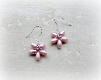 Pink Flower Earrings, Wire Wrap Earrings, Freshwater Pearls, Sterling Silver Earrings, Small Dangles, Floral Earrings, Nature Inspired