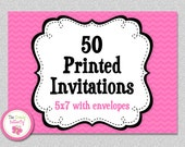 50 PRINTED INVITATIONS ,  5x7 Invitations with Envelopes , SHIPS within 1-2 days by The Trendy Butterfly