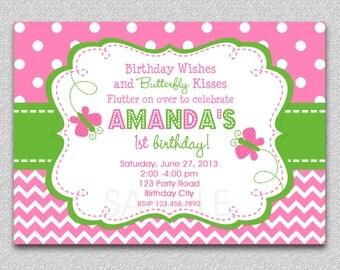 Chevron Butterfly Birthday Invitation Butterfly Birthday Party Invitation by The Trendy Butterfly
