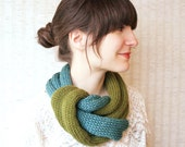Knit Circle Scarf Neckwarmer- Infinity Scarf Cowl - Two Color Ombre- Teal and Olive Green