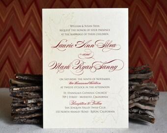 Autumn Fall Leaf Wedding Invitation Sample
