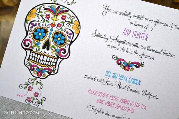 Day Of The Dead Wedding Invitations: DIY Printable Day Of The Dead Invitation Digital File