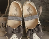 Baby Girl Shoes Toddler Big Girl Shoes Soft Soled Shoes Infant Shoes Ivory Shoes Grey Shoes Polka Dot Shoes Bow Shoes -Giselle