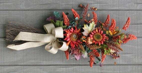 Front Door Decor Fall Swag Sunflower Harvest Swag Autumn