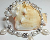 White Freshwater Pearl and Sterling Silver Beaded Bracelet