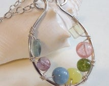 Sterling Silver Wire-Wrapped Multi Pastel Colored Gemstone Pendant & Sterling Chain Necklace - Peridot, Amethyst, Jade, Quartz