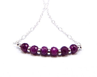 Natural Faceted Ruby & Sterling Silver Micro Necklace - N709