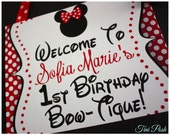 Welcome to a Minnie Birthday Bow-Tique  8x10 Sign {Personalized Printable}
