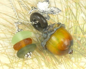 Eco Friendly GENUINE Sea Glass Jewelry Acorn SRA Lampwork Bead