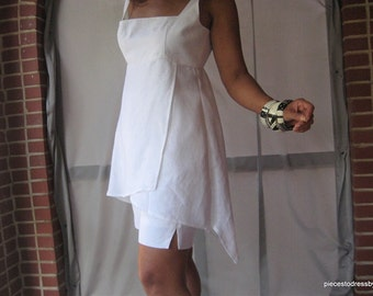 White Linen Two -Piece Ensemble, Sculptured Top, City Shorts, Uneven Hemline, Summer, Travel, Cruise, All White Party, Empire Line Top,