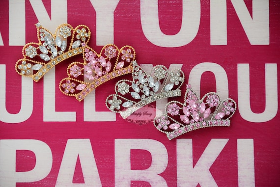 Rhinestone Tiara Crown Flatback Button Metal Brooch Pin Embellishment Princess Pageant Wedding Bouquet Gold Silver Pink Clear