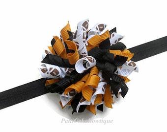 Pittsburgh Steelers Korker Hair Bow, Black Headband, Mizzou Tigers Hair Bow, Korker Headband, Baby Headband, Baby Girls Hair Bow, 809