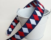 Boutique ribbon woven headband navy red white