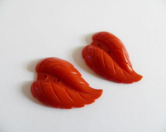 Fall Orange Glass Leaf Buttons Realistic