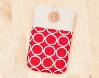Samsung Galaxy S6 sleeve / iphone 6 cover / Nexus 6 case / iPhone 6 case / Samsung Galaxy case - red circles with pockets-
